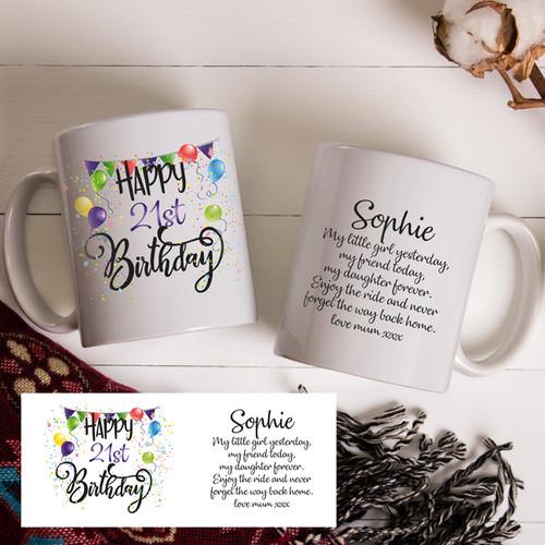 21st Girls Birthday Mug