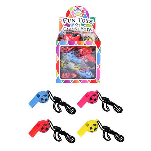Bulk Box of 48 Coloured Whistles
