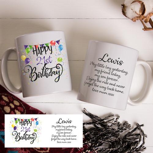 21st Boys Birthday Mug