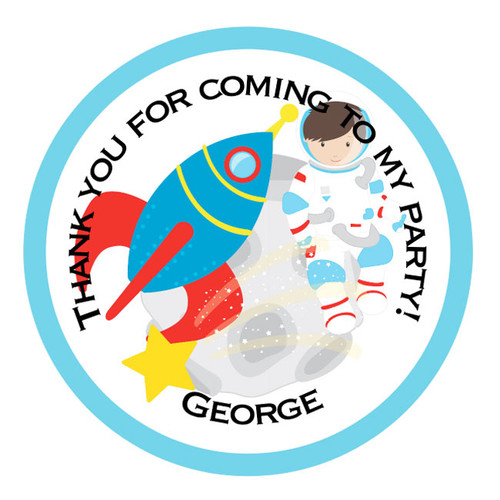 Personalised Space Exploration Party Sticker