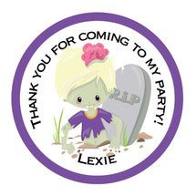 Zombie Girl RIP Themed Party Stickers