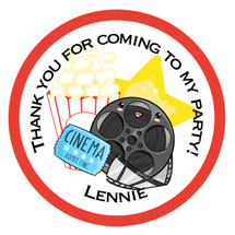 Movie Night Party Bag Stickers