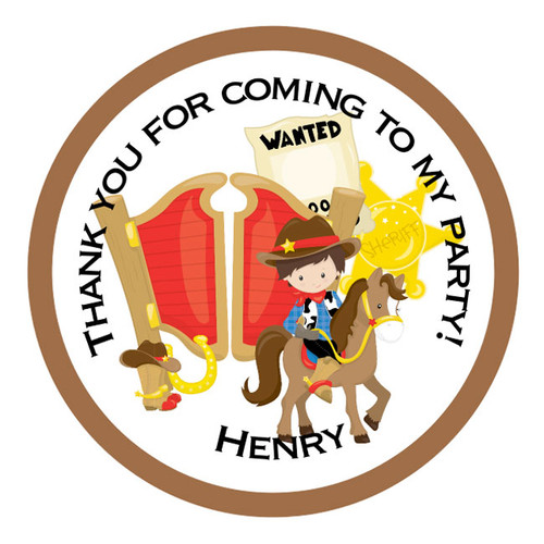 Personalised Cowboy Party Stickers