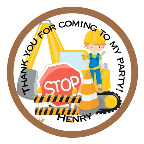 Personalised Construction Party Stickers
