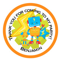 Personalised Robot Party Stickers