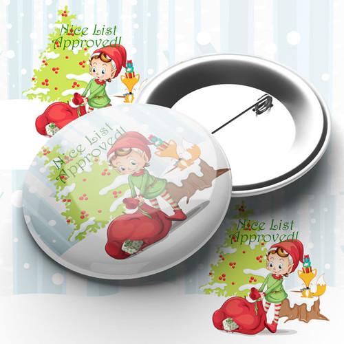 "Christmas ""Nice List Approved""  Pin Badge"