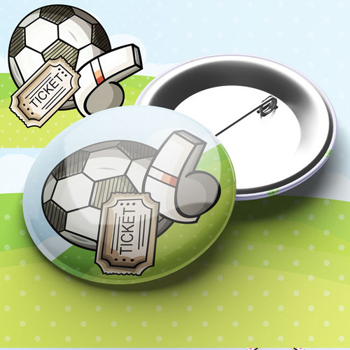 Football with Whistle Pin Badge