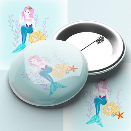 Pretty Mermaid Pin Badge