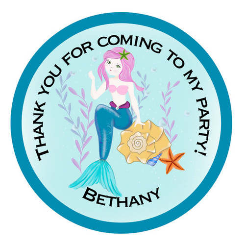 Pretty Mermaid Party Sticker