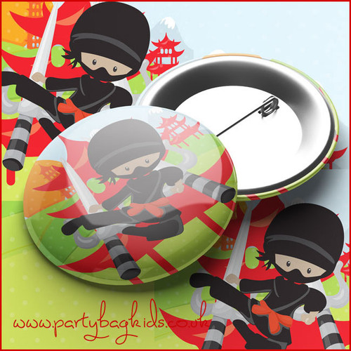 Ninja Party Pin Badge