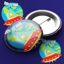 Space Aliens Pin Badge