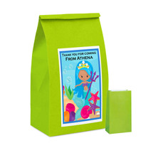 Lime Green Mermaids Paper Party Bag