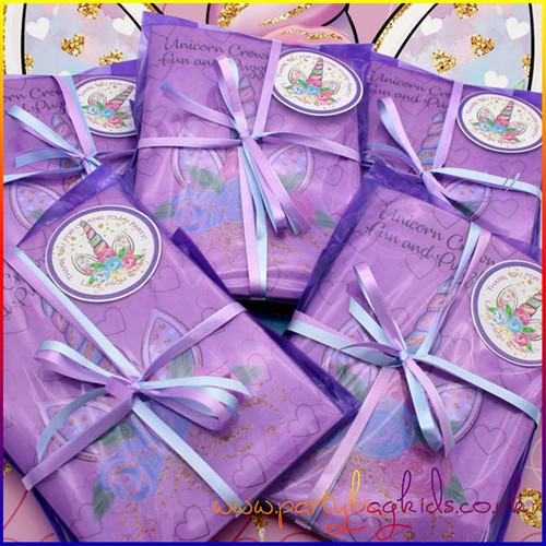 Unicorn Crown Personalised Party Bag in Purple