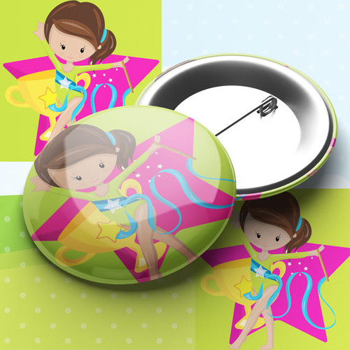Gymnast Party Pin Badge