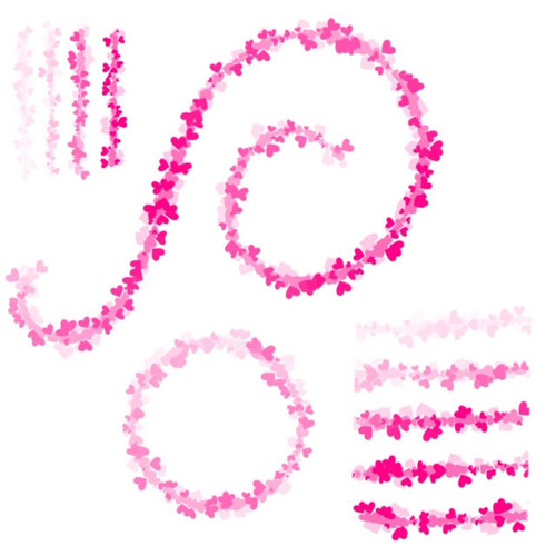 Hearts garland brush for Procreate