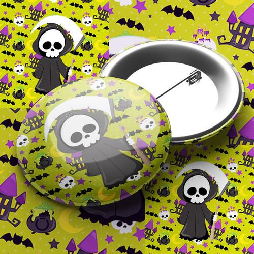 Grim Reaper Party Pin Badge