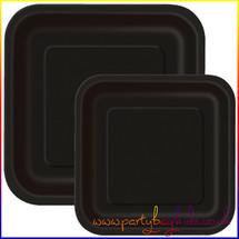 Midnight Black Square Paper Plates
