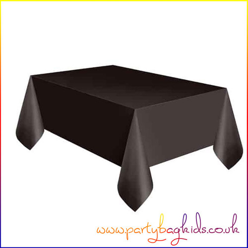 Midnight Black Rectangle Plastic Table Cover