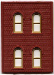 DPM Design Preservation Models HO Scale Modular System Two-Story 4 Arch Window Wall (4 Pieces) - 30108