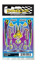 PineCar Derby Racers Dry Transfer Decals Scorpio - 4006