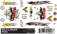PineCar Derby Racers Dry Transfer Decals Bold & Brave - 4024