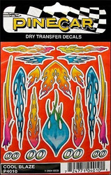 PineCar Derby Racers Dry Transfer Decals Cool Blaze - 4010