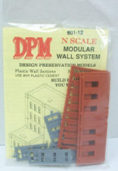 DPM Design Preservation Models N Scale Modular System 1 Story Window Wall (3 Pieces) - 60112