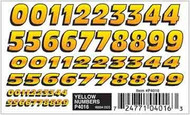 PineCar Derby Racers Dry Transfer Decals Yellow Numbers - 4016