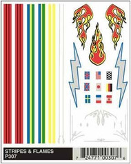 PineCar Derby Racers Dry Transfer Decals Stripes & Flames - 307