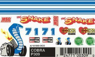 PineCar Derby Racers Dry Transfer Decals Cobra - 309