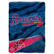 "Atlanta Braves 60""x80"" Royal Plush Raschel Throw Blanket - Speed Design"