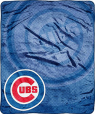 "Chicago Cubs 50""x60"" Retro Style Royal Plush Raschel Throw Blanket"