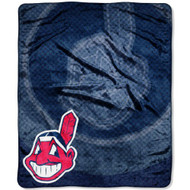 "Cleveland Indians 50""x60"" Retro Style Royal Plush Raschel Throw Blanket"