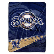 "Milwaukee Brewers 60""x80"" Royal Plush Raschel Throw Blanket - Speed Design"