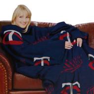 "Minnesota Twins 48""x71"" Comfy Throw Blanket With Sleeves - Smoke Design"