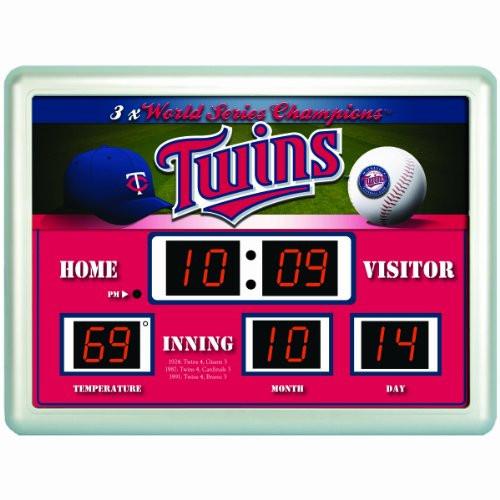 """Minnesota Twins Clock - 14""""x19"""" Scoreboard"""