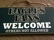 """Mets Fans Wood Sign - 5""""x10"""" Welcome"""