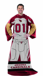 Arizona Cardinals Comfy Throw Blanket With Sleeves - Player Design