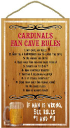 Arizona Cardinals Fan Cave Rules Wood Sign