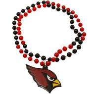 Arizona Cardinals Mardi Gras Beads with Medallion