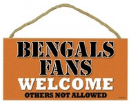 "Bengals Fans Wood Sign - 5""x10"" Welcome"