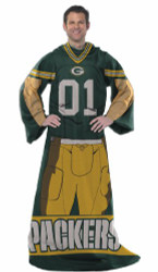 Green Bay Packers Comfy Throw Blanket With Sleeves - Player Style
