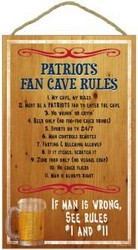 New England Patirots Fan Cave Rules Wood Sign