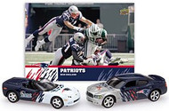 New England Patriots 1:64 Home & Road Charger/Corvette 2-Pack with Card