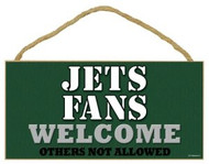 "Jets Fans Wood Sign - 5""x10"" Welcome"