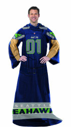 Seattle Seahawks Comfy Throw Blanket With Sleeves - Player Design
