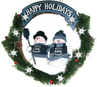 "Seattle Seahawks 20"" Team Snowman Wreath"
