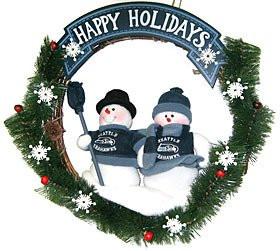 "Seattle Seahawks 20"" Team Snowman Wreath"
