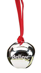 Believe Polar Express Bell Ornament by Roman Inc., Silver, Size: 1.5""