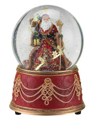 Roman Santa with Snowflakes Musical We Wish You a Merry Christmas 100mm Snow Globe